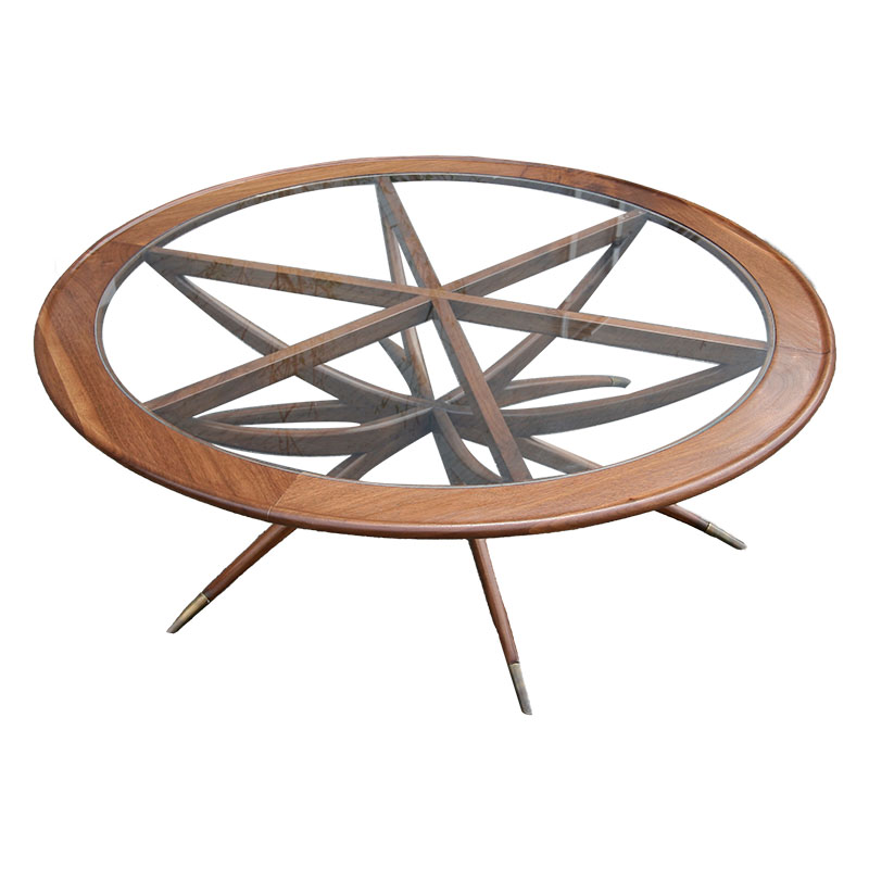 Custom Spider Leg Round Coffee Table With Glass Top Adesso