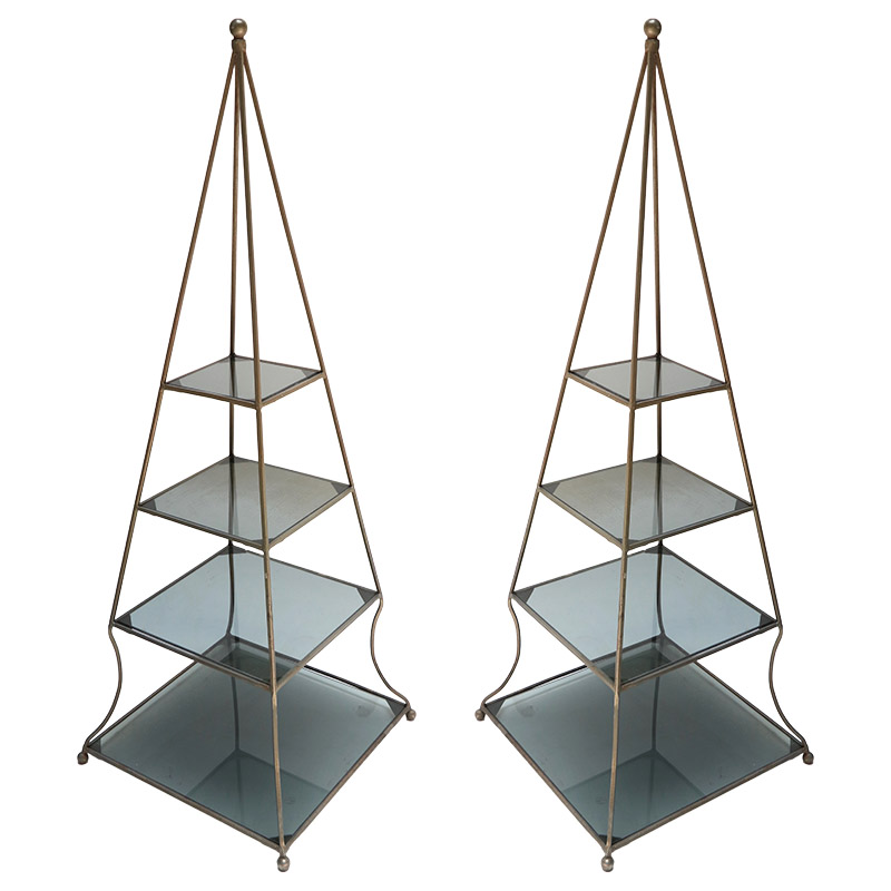 pair of 1960s metal pyramid etageres with smoked glass shelves adesso imports. Black Bedroom Furniture Sets. Home Design Ideas